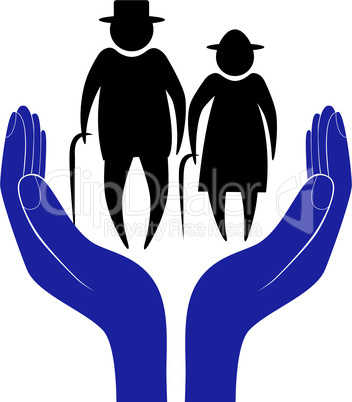 Hand in people encouragement help. Vector support moral. Life insurance of elderly men and women. Health care. Social person.