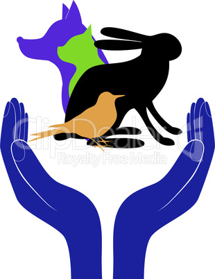 pet protection sign vector hand in people encouragement help. Vector support Life. Health care.