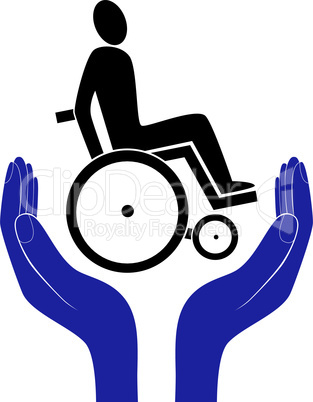 disabled invalid care sign vector protection sign vector hand in people encouragement help. Vector support Life. Health care.