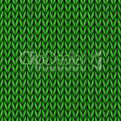 Vector handmade seamless knitted wool pattern. Abstract ornamental background of green vintage fabric embroidery illustration texture.