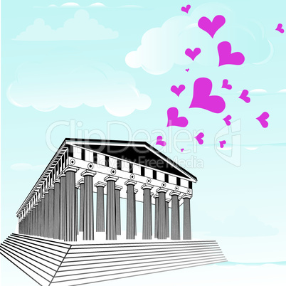 Greece acropolis with heart symbol of valentines day. Parthenon vector illustration.