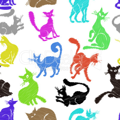 Cat seamless pattern background sketch collection. Vector animal set sketch kitty isolated on white.