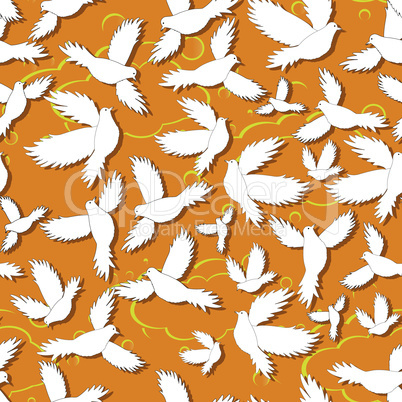 Holy birds dove seamless pattern. Vector illustration design. Pigeon as symbol of love, pease.