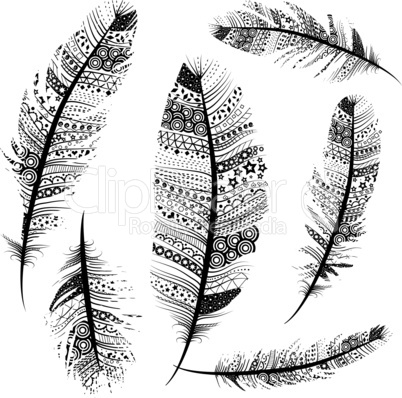 Seamless Vintage Tribal Feathers Pattern vector set illustration background sketch.