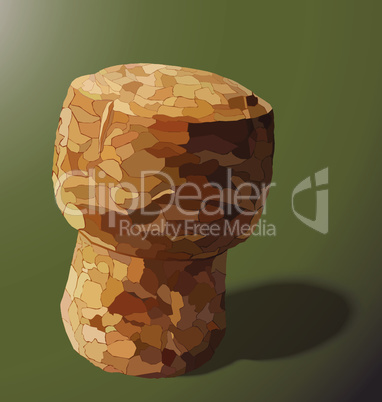 champagne cork is casting a shadow in the right on a yellow background
