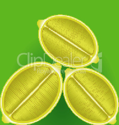 three fresh lemon in a longitudinal section on a green background