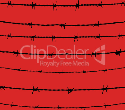 Barbed wire seamless background. Vector fence illustration isolated. Protection concept design.