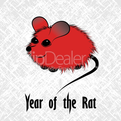 Rat, mouse chinese horoscope animal sign. The vector art image in decorative style