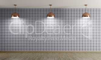 Copper lamps against of blue wall interior background 3d renderi