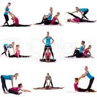 Sport. Collage of girl helps her friend to stretch