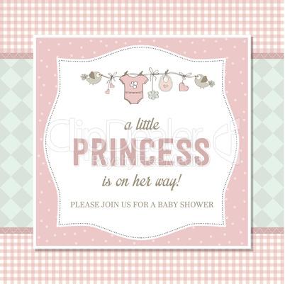 shabby chic baby girl shower card