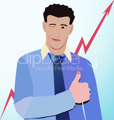 businessman winks thumbs up on red background graphics up
