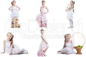 Collage of charming little model posing in dresses