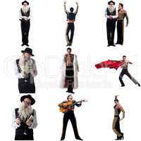 Photo collage of artistic men dressed in costumes