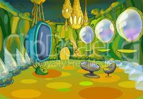 Alien Spaceship Cartoon Interior