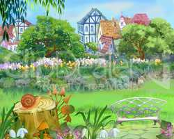 Colorful Fairy Tale Park in the City