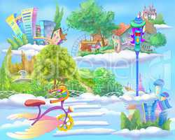 Fairy Tale World with Floating Islands in the Sky