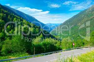asphalt road in high mountains