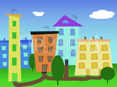 Urban landscape abstract cartoon city vector.