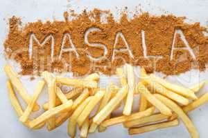 Masala written text with Potato chips french fries