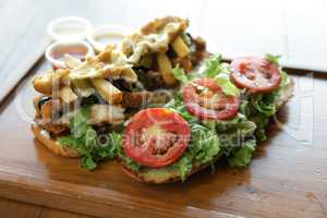 Delicious open face sandwich with sauces