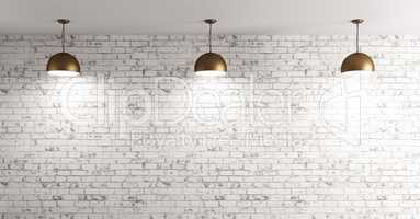 Lamps over brick wall interior background 3d render