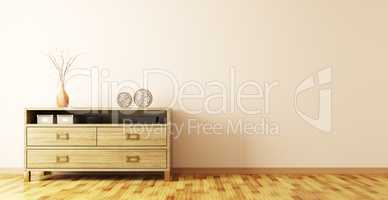 Interior with wooden dresser 3d rendering