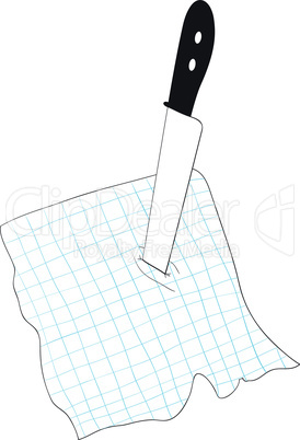 Knife stuck into a piece of paper