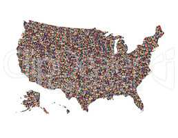 map of USA with people isolated
