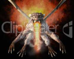 3D Illustration; 3D Rendering of a Dragon