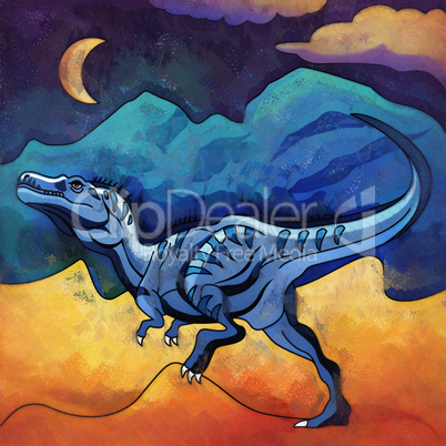 Dinosaur in the habitat. Illustration Of Alectrosaur