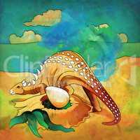 Dinosaur in the habitat. Illustration Of Ankylosaur