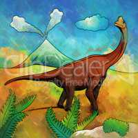 Dinosaur in the habitat. Illustration Of Brachiosaur