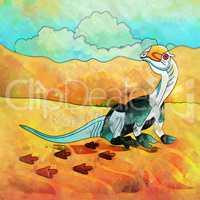 Dinosaur in the habitat. Illustration Of Dilophosaur
