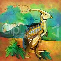 Dinosaur in the habitat. Illustration Of Parasauroloph