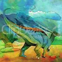 Dinosaur in the habitat. Illustration Of Plateosaur