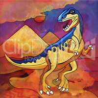 Dinosaur in the habitat. Illustration Of Staurikosaur