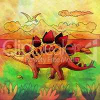 Dinosaur in the habitat. Illustration Of Stegosaur
