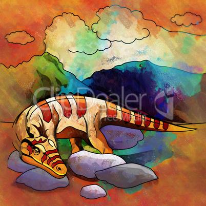 Dinosaur in the habitat. Illustration Of Heterodontosaur