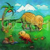 Dinosaur in the habitat. Illustration Of Triceratops
