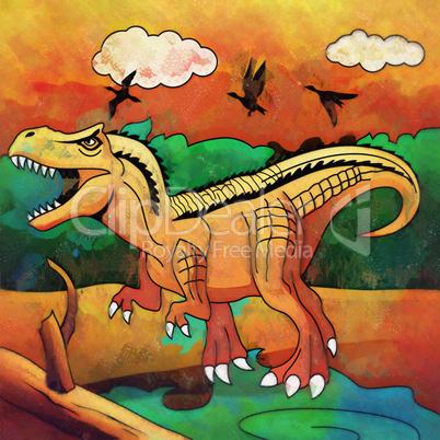 Dinosaur in the habitat. Illustration Of Tyrannosaur