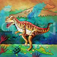 Dinosaur in the habitat. Illustration Of Velociraptor