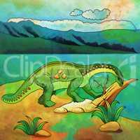 Dinosaur in the habitat. Illustration Of Vulcanodon