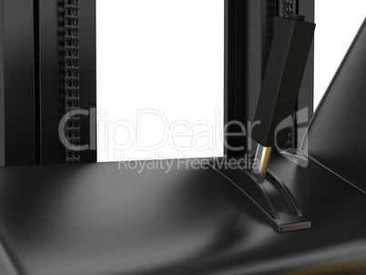 Cabin forklift truck with lever on dashboard. 3d rendering