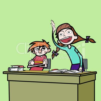 Schoolboy and schoolgirl in the classroom