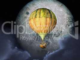 Fantasie Heißluftballon vor dem Mond