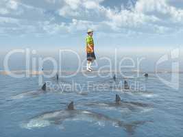 Mann balanciert auf einem Brett über dem Meer mit Haifischen