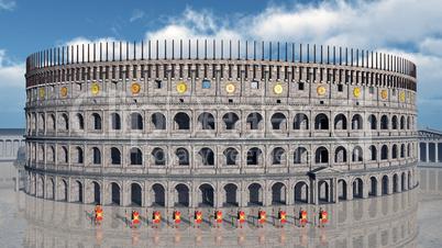 Legionäre und Kolosseum im antiken Rom