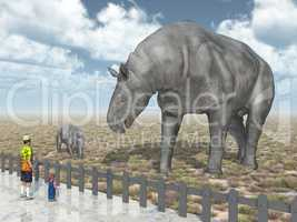 Paraceratherium und Besucher im Zoo