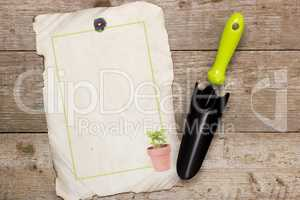 Shovel for horticulture and image houseplant